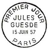Oblitération 1er jour à Paris et Roubais le 15 juin 1957