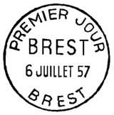 Oblitération 1er jour à Brest le 6 juillet 1957