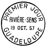 Oblitération 1er jour à Basse-terre et Pointe-à-Pitre (Guadeloupe) le 19 octobre 1957