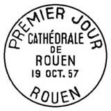 Oblitération 1er jour à Rouen le 19 octobre 1957