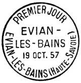 Oblitération 1er jour à Evian le 19 octobre 1957