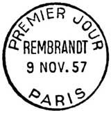 Oblitération 1er jour à Paris au Salon philatélique d'automne le 9 novembre 1957