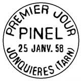 Oblitération 1er jour à Jonquière le 25 janvier 1958