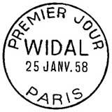 Oblitération 1er jour à Paris le 25 janvier 1958