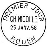 Oblitération 1er jour à Rouen le 25 janvier 1958