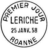 Oblitération 1er jour à Roanne le 25 janvier 1958