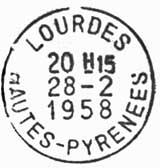 Oblitération 1er jour à Lourdes le 28 février 1958