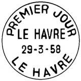Oblitération 1er jour à Le Havre le 29 mars 1958