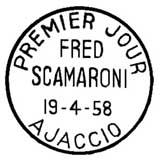 Oblitération 1er jour à Ajaccio le 19 avril 1958