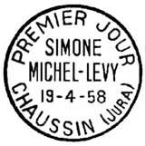 Oblitération 1er jour à Chaussin le 19 avril 1958