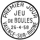 Oblitération 1er jour à Valence le 26 avril 1958