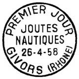 Oblitération 1er jour à Givors le 26 avril 1958