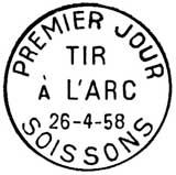 Oblitération 1er jour à Soisson le 26 avril 1958