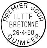 Oblitération 1er jour à Quimper le 26 avril 1958