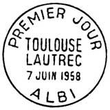 Oblitération 1er jour à Albi le 7 juin 1958