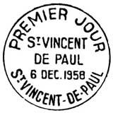 Oblitération 1er jour à Saint-Vincent-de-Paul le 6 décembre 1958