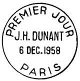 Oblitération 1er jour à Paris le 6 décembre 1958