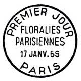 Oblitération 1er jour à Paris le 17 janvier 1959