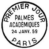 Oblitération 1er jour à Paris le 24 janvier 1959