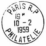 Oblitération 1er jour au Musée Postal le 10 février 1959