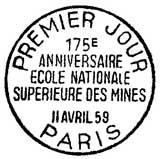 Oblitération 1er jour à Paris le 11 avril 1959