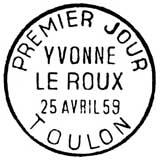 Oblitération 1er jour à Toulon le 24 avril 1959