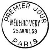 Oblitération 1er jour à Paris le 24 avril 1959