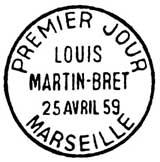 Oblitération 1er jour à Marseille le 24 avril 1959