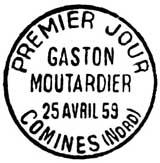 Oblitération 1er jour à Comines le 24 avril 1959