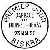 Oblitération 1er jour à Biskra le 23 mail 1959