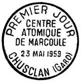 Oblitération 1er jour à Chusclan le 23 mai 1959