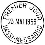 Oblitération 1er jour à Hassi Messaoud le 23 mai 1959