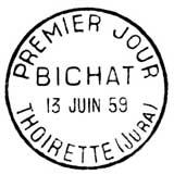 Oblitération 1er jour à Thoirette le 13 juin 1959
