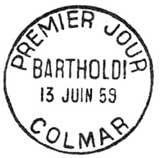 Oblitération 1er jour à Colmar le 13 juin 1959