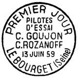 Oblitération 1er jour à Le Bourget le 13 juin 1959