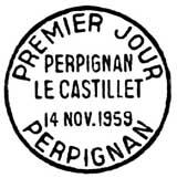 Oblitération 1er jour à Perpignan le 14 novembre 1959