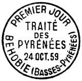 Oblitération 1er jour à Behobie le 24 octobre 1959