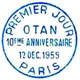 Oblitération 1er jour à Paris le 14 décembre 1959
