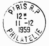Oblitération 1er jour à Paris le 11 décembre 1959