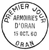 Oblitération 1er jour à Oran le 2 janvier 1960