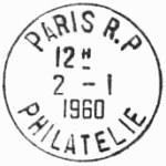 Oblitération 1er jour à Paris le 2 janvier 1960
