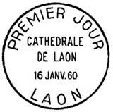 Oblitération 1er jour à Laon le 16 janvier 1960