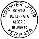 Oblitération 1er jour à Kerrata (Algérie) le 16 janvier 1960