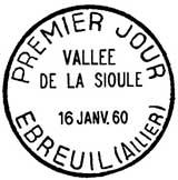 Oblitération 1er jour à Ebreuil et Menat le 16 janvier 1960