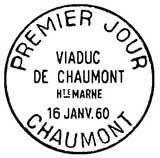 Oblitération 1er jour à Chaumont le 16 janvier 1960