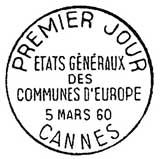 Oblitération 1er jour à Cannes le 5 mars 1960