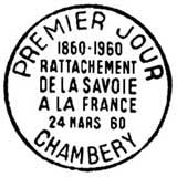 Oblitération 1er jour à Chambéry le 24 mars 1960