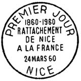 Oblitération 1er jour à Nice le 24 mars 1960