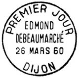 Oblitération 1er jour à Dijon le 26 mars 1960