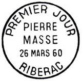 Oblitération 1er jour à Ribérac le 26 mars 1960